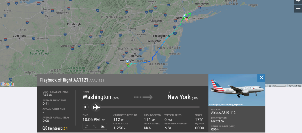 American Airlines flight AA1121 from Washington to New York (LGA) diverted to New York (JFK) due to hydraulic issue