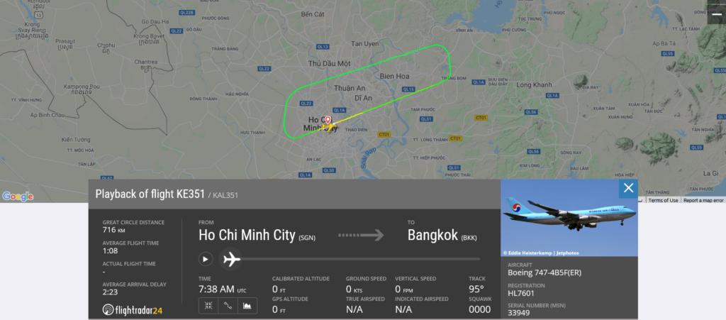 Korean Air flight KE351 returned to Ho Chi Minh City due to landing gear issue
