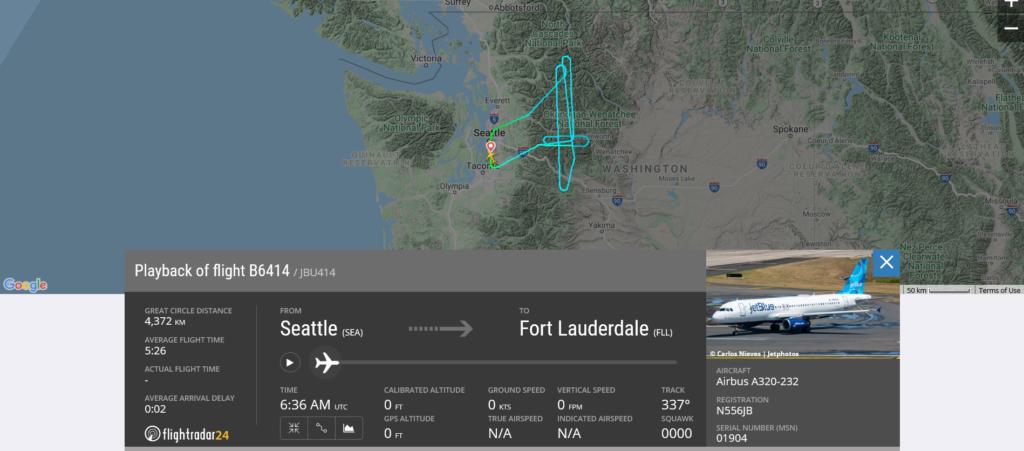 JetBlue flight B6414 returned to Seattle due to landing gear issue