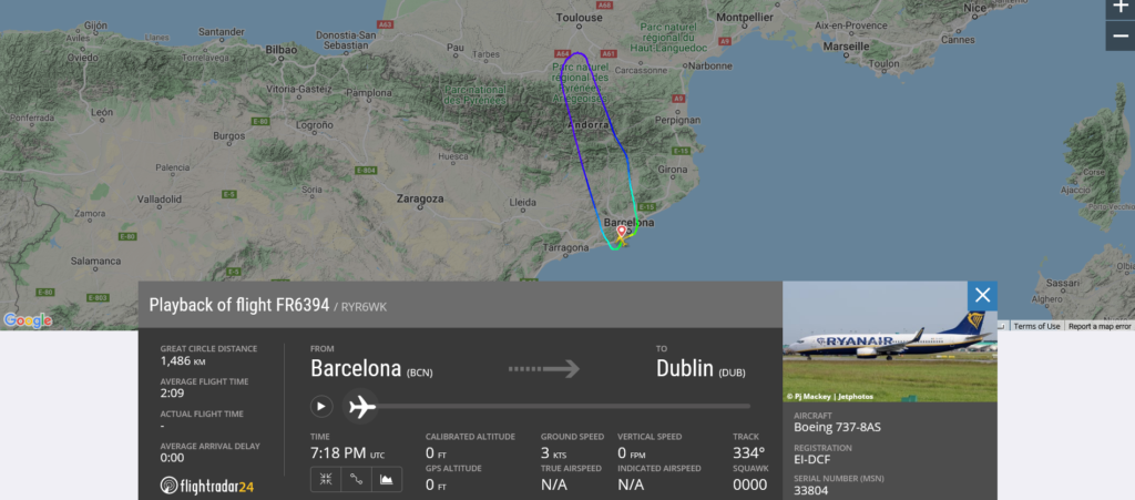 Ryanair flight FR6394 from Barcelona to Dublin returned to Barcelona due to medical emergency