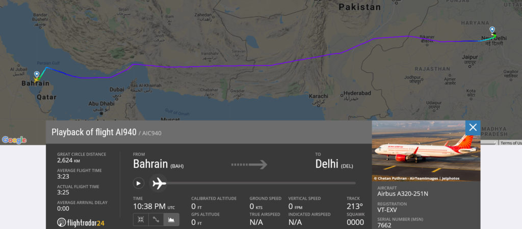 Air India flight AI940 from Bahrain to Delhi suffered technical issue