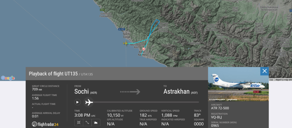 UTAir flight UT135 from Sochi to Astrakhan returned to Sochi due to low oil pressure indication