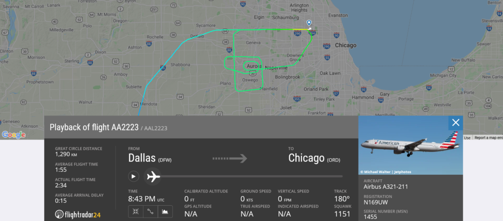 American Airlines flight AA2223 from Dallas to Chicago suffered landing gear door issue