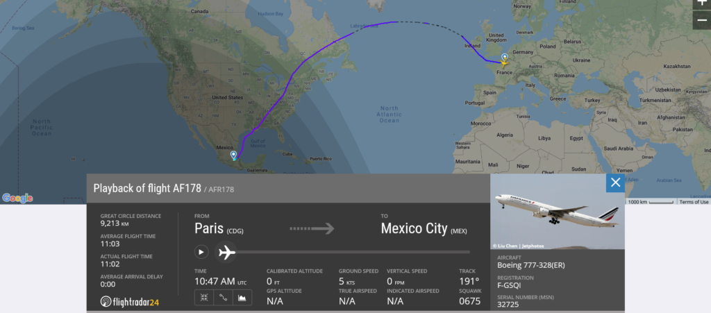 Air France flight AF178 from Paris to Mexico City suffered hard landing