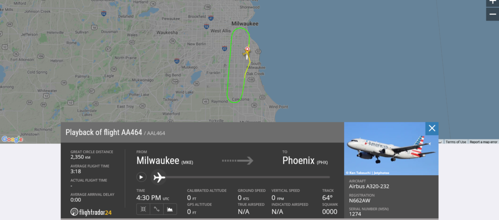 American Airlines flight AA464 from Milwaukee to Phoenix returned to Milwaukee due to engine issue