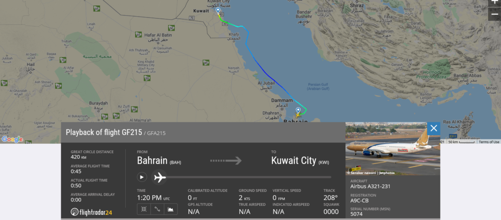 Gulf Air flight GF215 from Bahrain to Kuwait City passengers were evacuated after landing