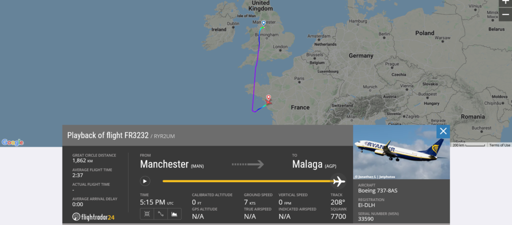 Ryanair flight FR3232 from Manchester to Malaga declared an emergency and diverted to Nantes due to medical emergency