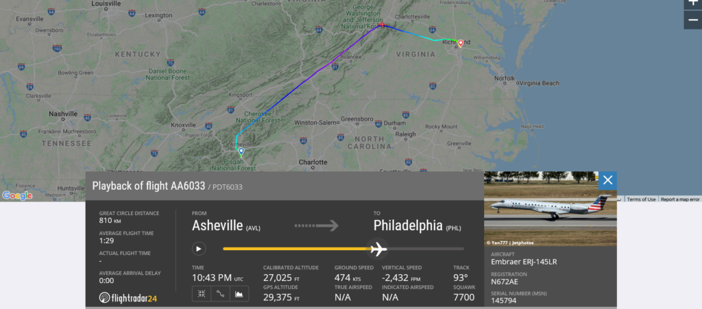 American Airlines flight AA6033 from Asheville to Philadelphia declared an emergency and diverted to Richmond due to medical emergency