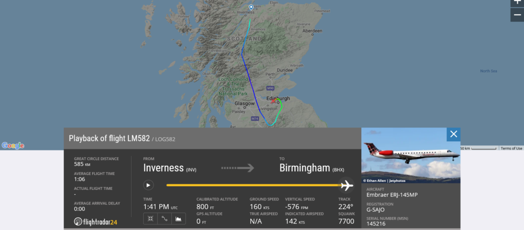 Loganair flight LM582 from Inverness to Birmingham declared an emergency and diverted to Edinburgh due to medical emergency