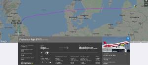 Air Baltic flight BT671 from Riga to Manchester suffered bird strike