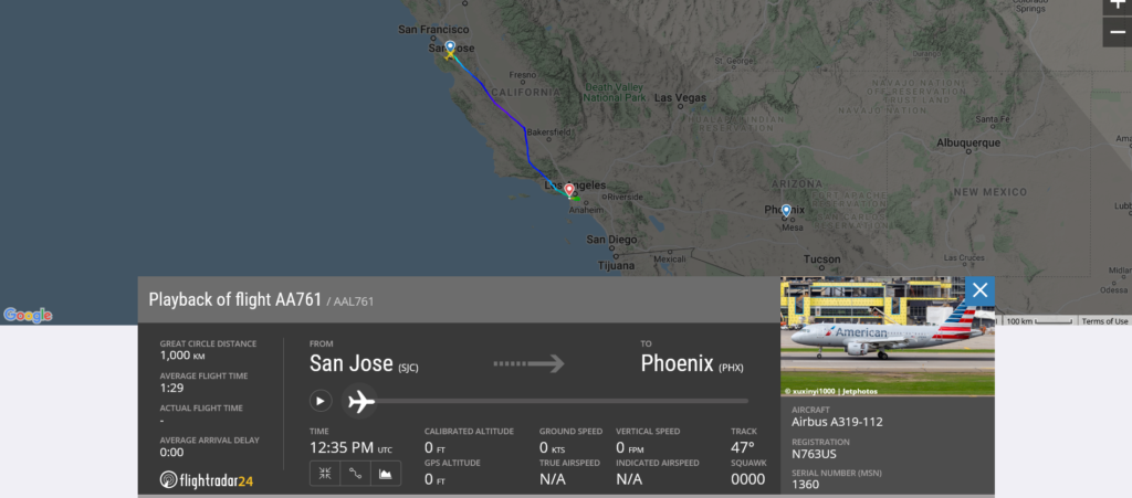 American Airlines flight AA761 from San Jose to Phoenix diverted to Los Angeles due to possible mechanical issue