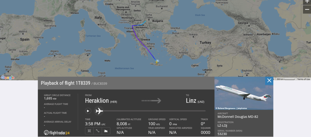 European Air Charter flight 1T8339 from Heraklion to Linz diverted to Sofia due after engine shut down