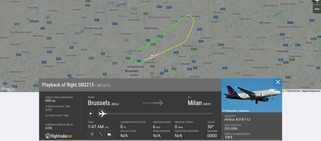 Brussels Airlines flight SN3215 from Brussels to Milan returned to Brussels due to bird strike