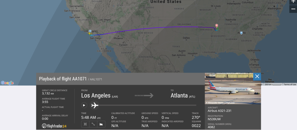 American Airlines flight AA1071 from Los Angeles to Atlanta diverted to Memphis due to disruptive passenger