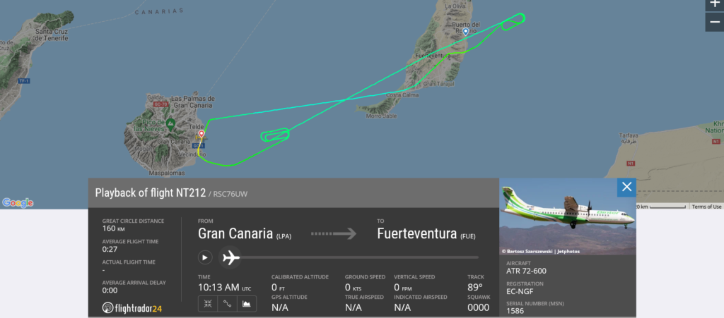 Binter Canarias flight NT212 from Gran Canaria to Fuerteventura returned to Gran Canaria due to engine issue