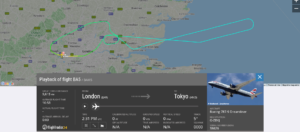 British Airways flight BA5 from London to Tokyo returned to London due to technical issue
