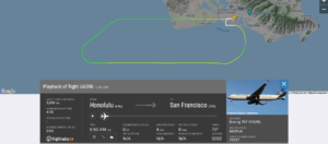 United Airlines flight UA396 from Honolulu to San Francisco returned to Honolulu due to engine issue