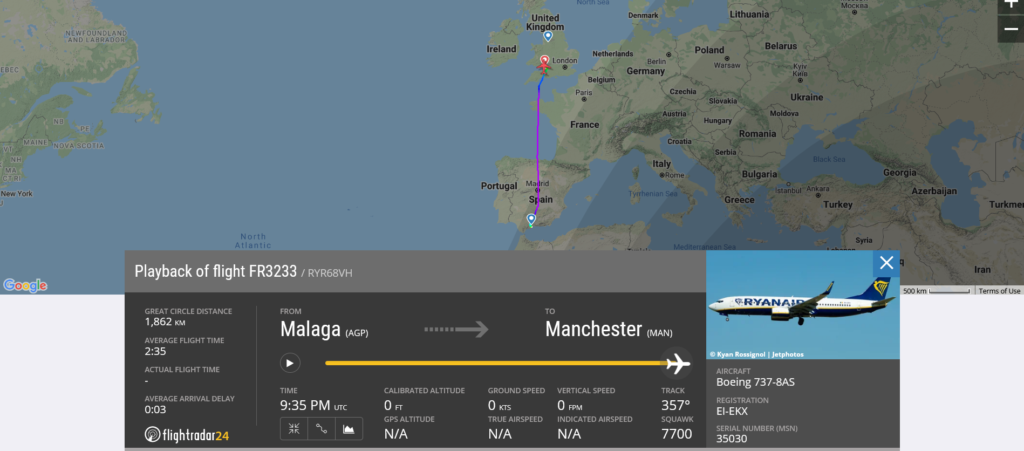 Ryanair flight FR3233 declared an emergency and diverted to Bristol due to medical emergency