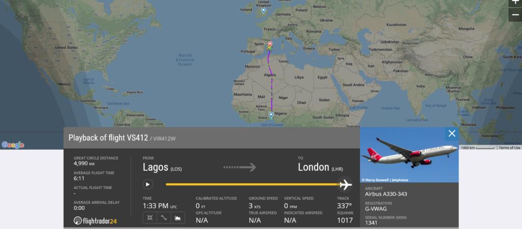 Virgin Atlantic flight VS412 diverted to Palma de Mallorca due to medical emergency