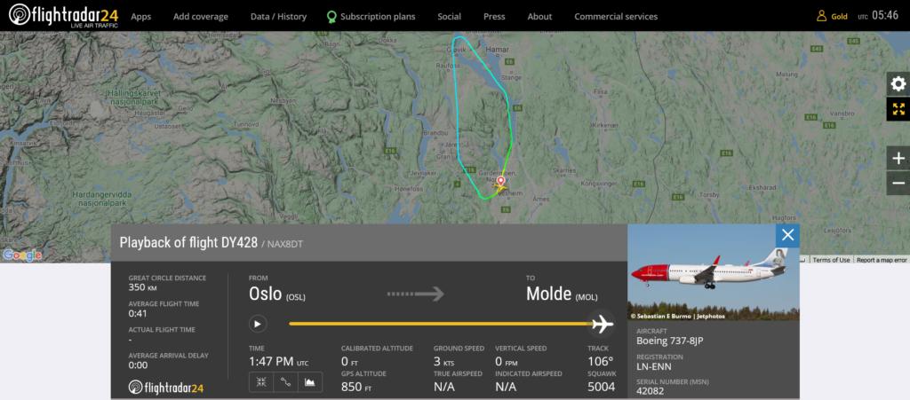 Norwegian flight DY428 returned to Oslo due to lightning strike