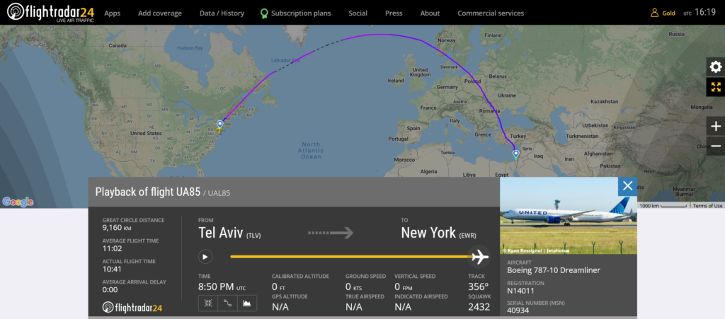 United Airlines flight UA85 from Tel Aviv to New York suffered taxiway lights collision