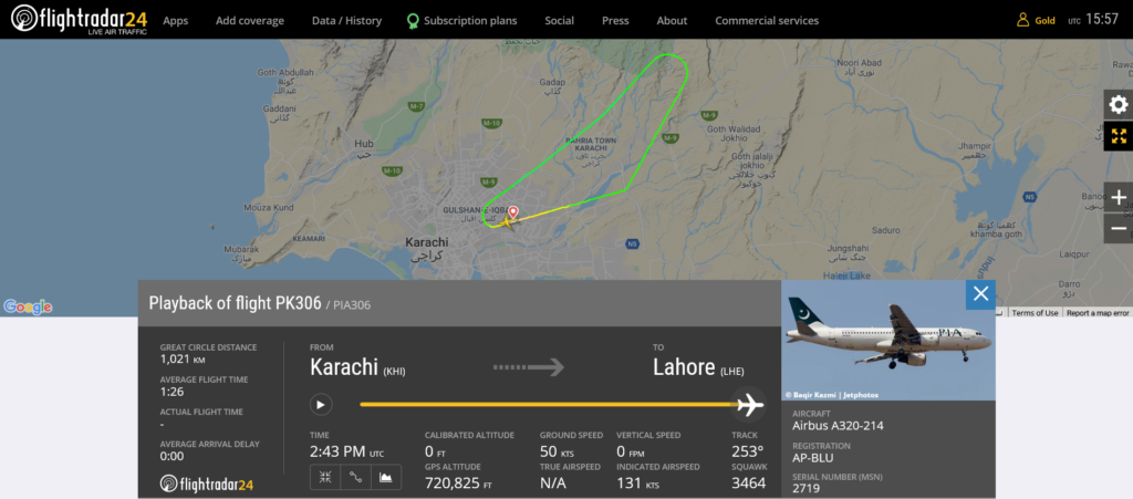 Pakistan International Airlines flight PK306 returned to Karachi due to airspeed indication issue