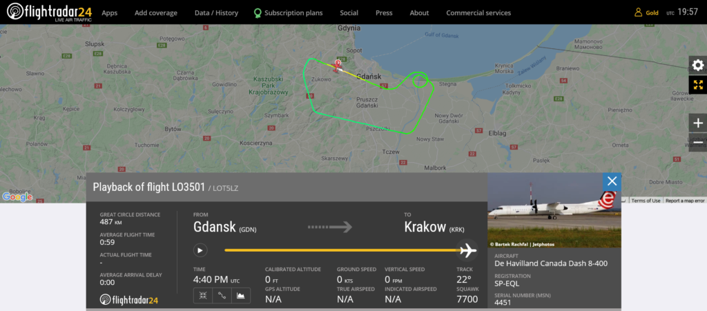 LOT flight LO3501 declared an emergency and returned to Gdansk due to engine issue