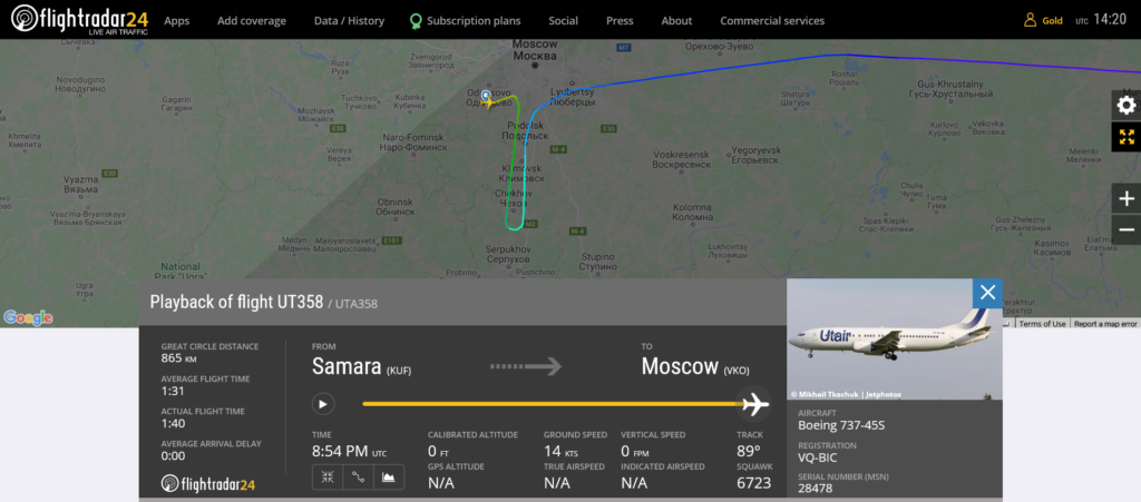 Utair flight UT358 from Samara to Moscow suffered electrical issue