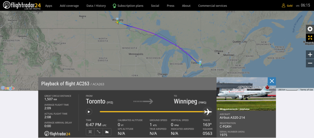 Air Canada flight AC263 from Toronto to Winnipeg suffered an electrical issue