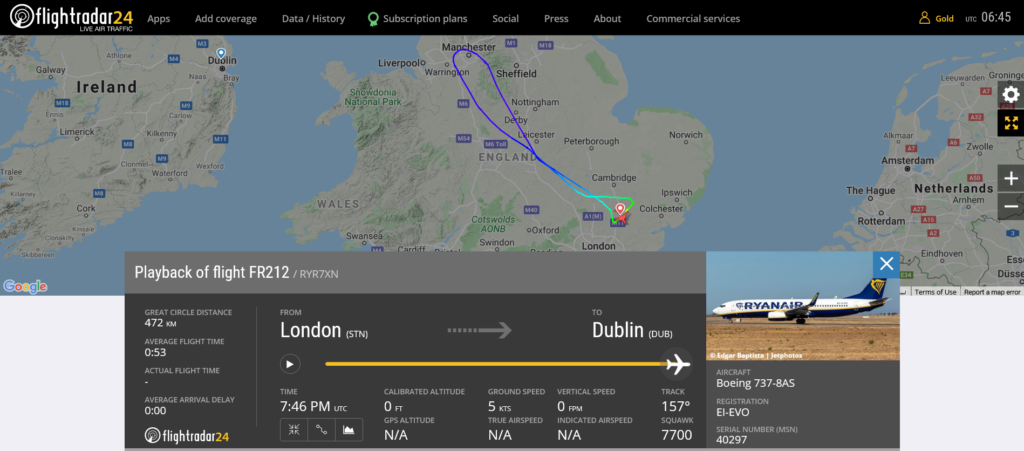 Ryanair flight FR212 from London to Dublin declared an emergency and returned to London due to autopilot issue