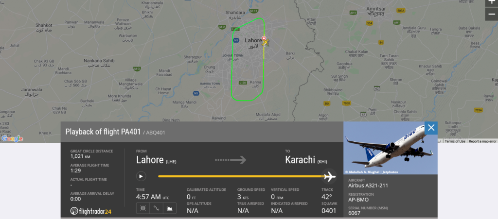 Airblue flight PA401 returned to Lahore due to bird strike
