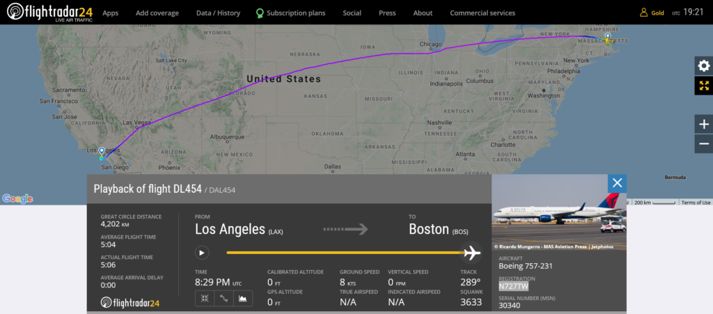 Delta Air Lines flight DL454 from Los Angeles to Boston suffered bird strike
