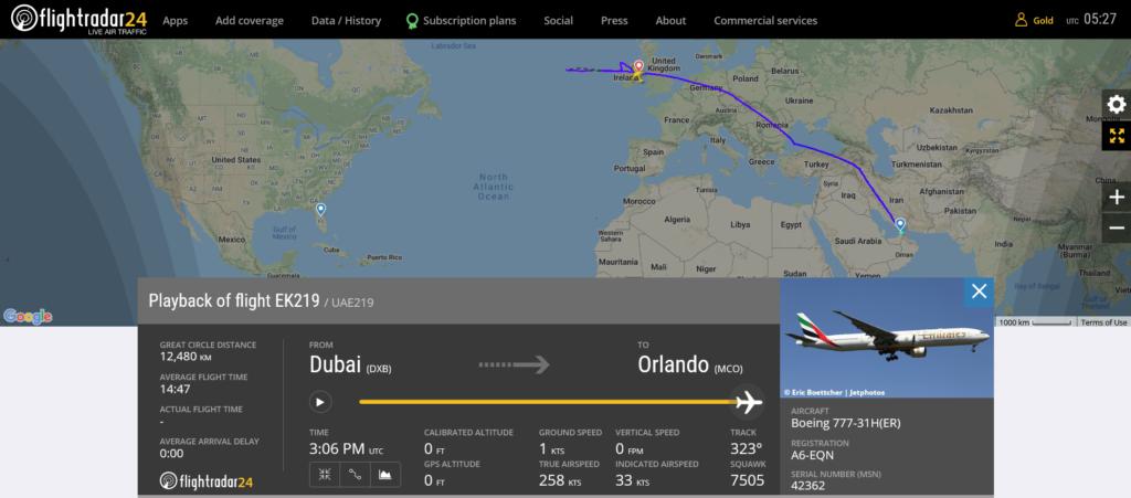 Emirates flight EK219 diverted to Dublin due to medical emergency