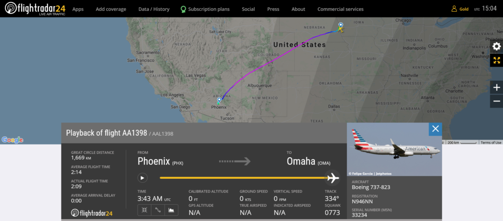 American Airlines flight AA1398 from Phoenix to Omaha encountered turbulence