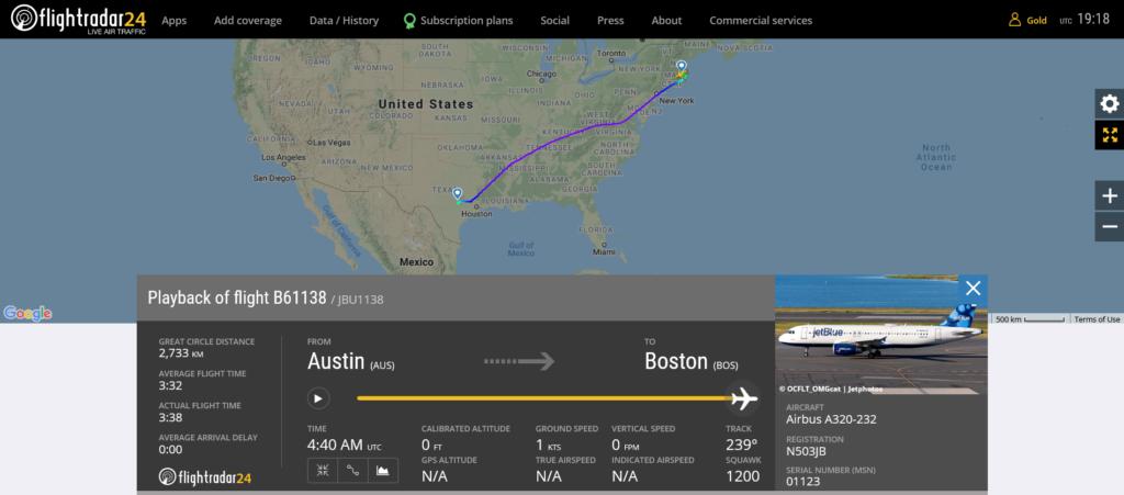 JetBlue flight B61138 from Austin to Boston suffered a bird strike