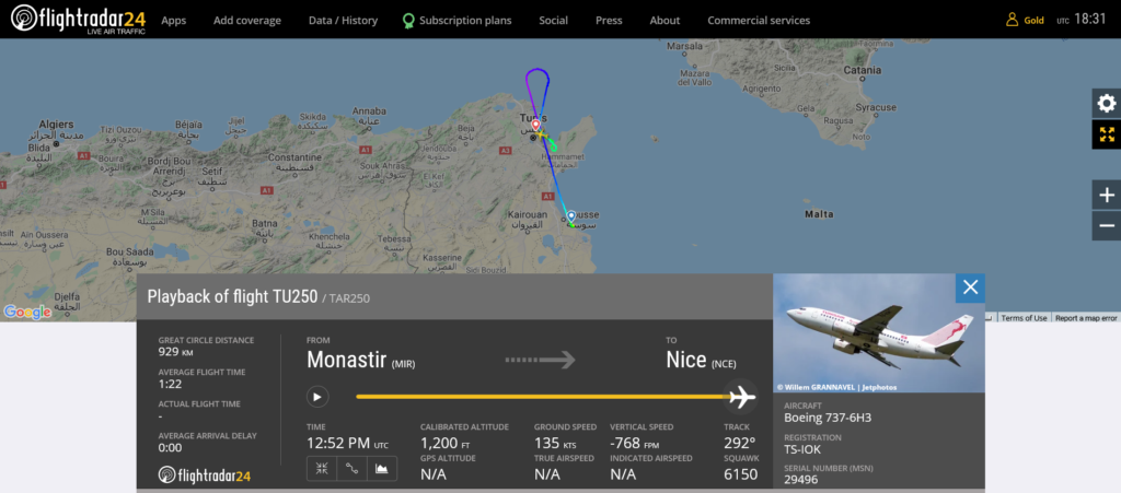 Tunisair flight TU250 diverted to Tunis due to hydraulic issue