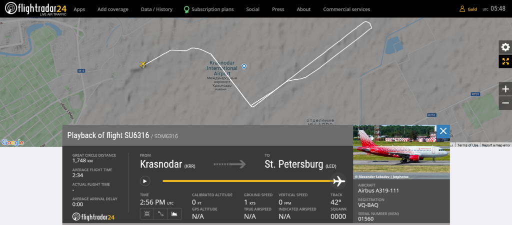 Aeroflot flight SU6316 from Krasnodar to St. Petersburg rejected takeoff due to electrical issue
