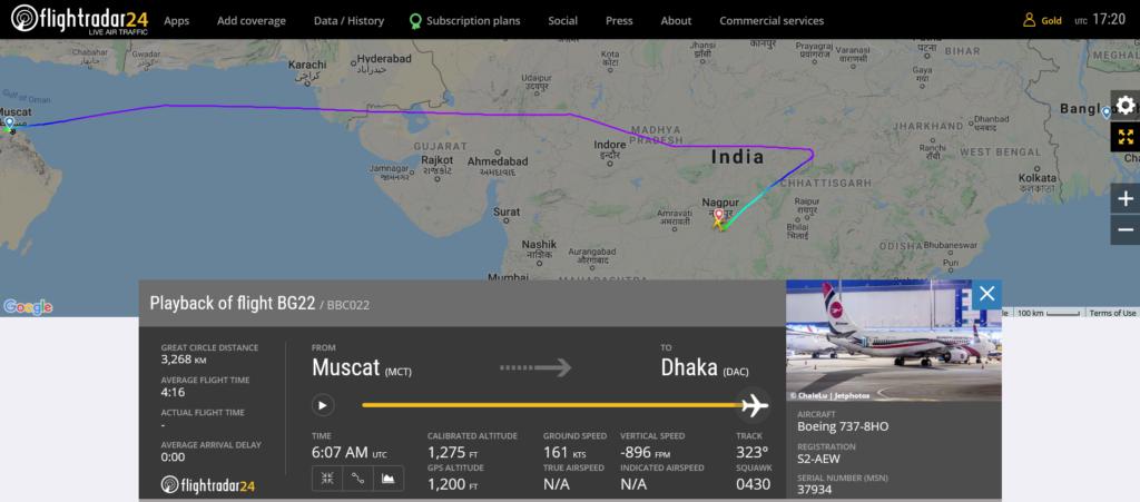 Biman Bangladesh Airlines flight BG22 diverted to Nagpur due to medical emergency