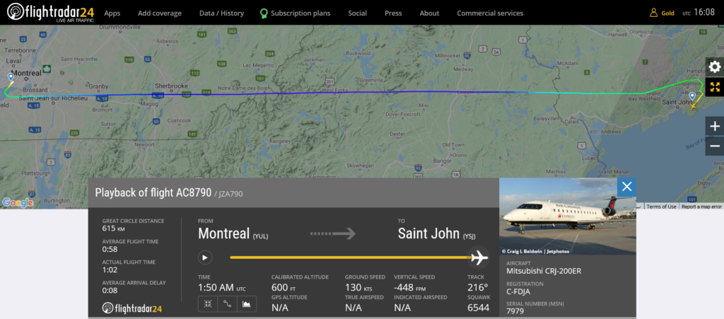 Air Canada flight AC8790 from Montreal to Saint John suffered pressurisation issue