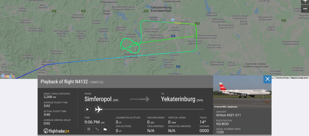 Nordwind Airlines flight N4132 from Simferopol to Yekaterinburg suffered hydraulic issue