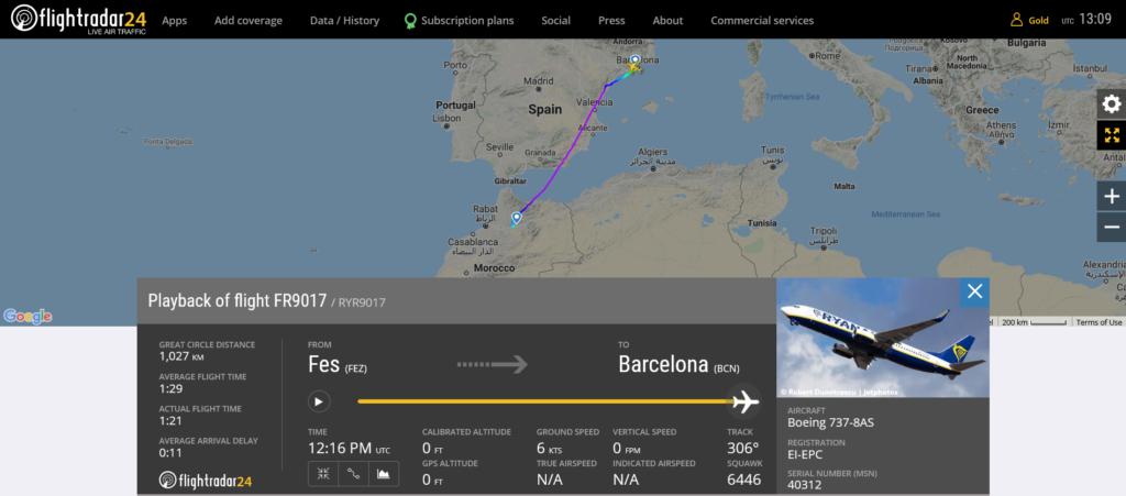 Ryanair flight FR9017 from Fes to Barcelona encountered turbulence