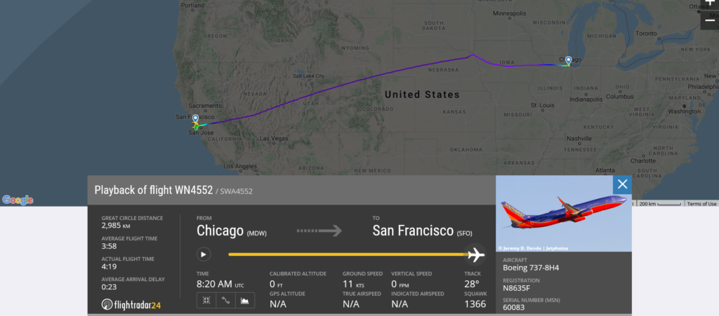 Southwest Airlines flight WN4552 from Chicago to San Francisco suffered flaps issue