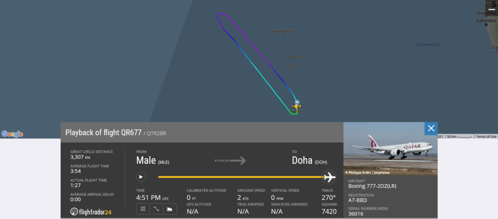 Qatar Airways flight QR677 returned to Male due to technical issue