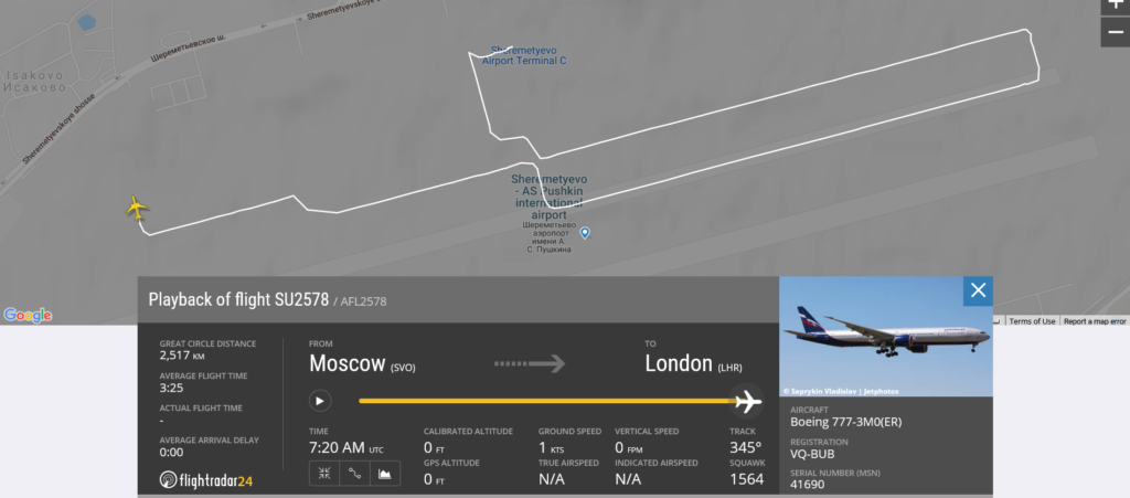 Aeroflot flight SU2578 rejected takeoff due to possible engine issue