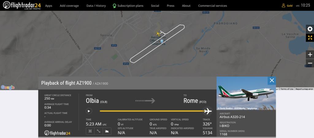 Alitalia flight AZ1900 from Olbia to Rome rejected takeoff due to bird strike