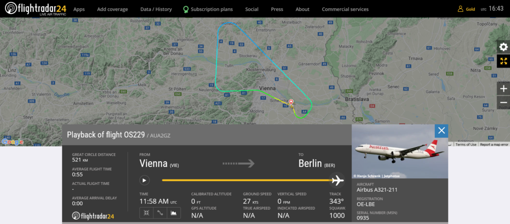 Austrian Airlines flight OS229 returned to Vienna due to odor on board