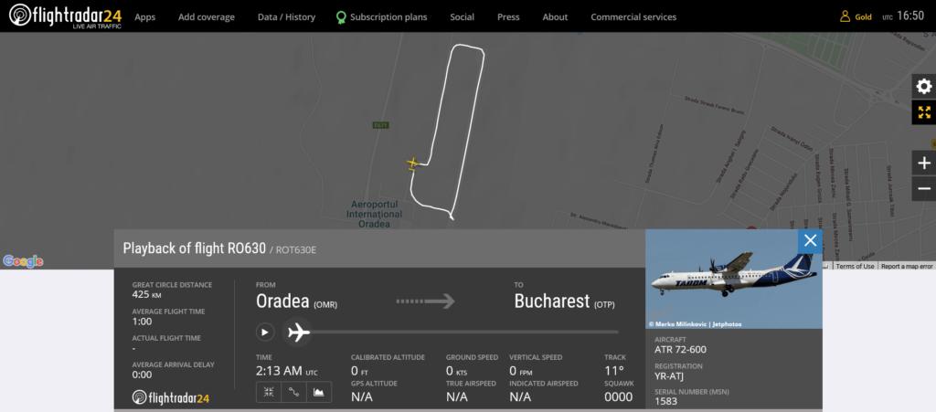 TAROM flight RO630 from Oradea to Bucharest rejected takeoff