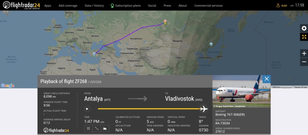 Azur Air flight ZF268 from Antalya to Vladivostok diverted to Krasnoyarsk due to hydraulic issue