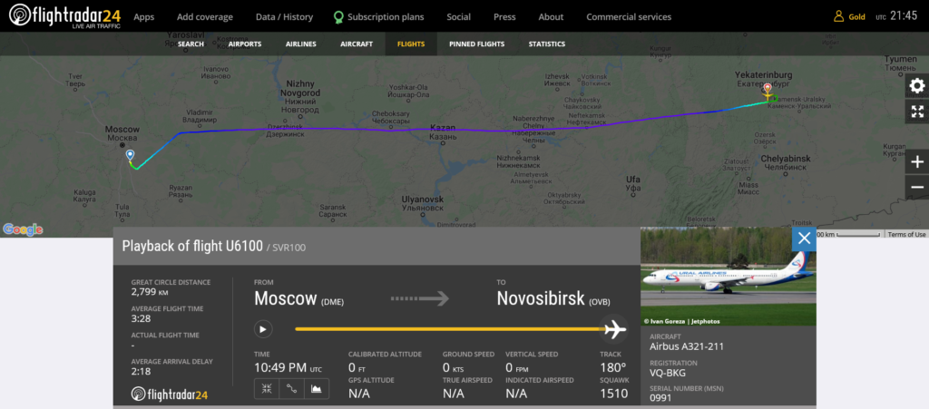 Ural Airlines flight U6100 diverted to Yekaterinburg due to airspeed and altitude indication issue