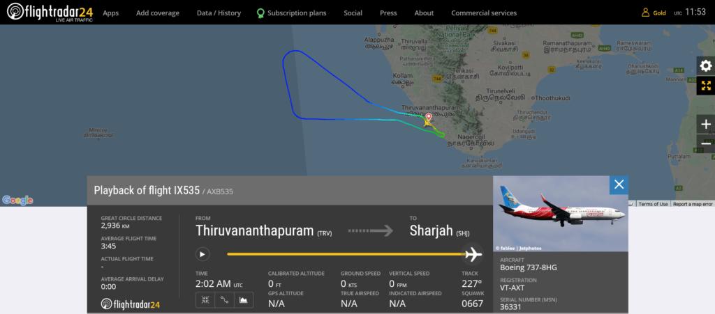 Air India Express flight IX535 returned to Thiruvananthapuram due to technical issue